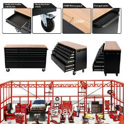 10/15 Drawers Tool Storage Chest Black Roll Cab Roller Cabinet Chest Black/Wood
