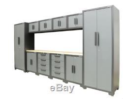 11 Piece Tool Cabinet Set 24 Gauge Professional Workshop Storage Drawers Worktop
