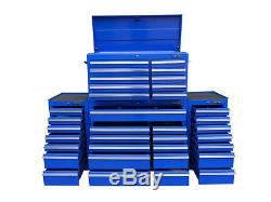 22 US PRO Tools Blue Tool Chest Box Steel Drawers Snap It Up 2 side cabinet 75