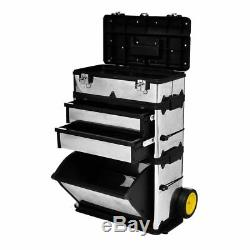 3-Part Portable Chest Rolling Tool Storage Box Cabinet Sliding Drawers Organizer