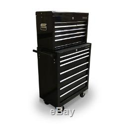 428 Tool Box Roller Cabinet Steel Chest 16 Drawers Gloss Black Us Pro Tools