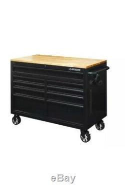 46 in. W x 24.5 in. D 9-Drawer Mobile Workbench with Solid Wood Top Black MW