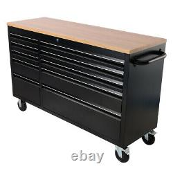 55'' 10 Drawers Moving Tool Chest Storage Lockable Tool Cabinet Garage Workbench