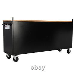 55 72 Wide CHEST Drawer Stainless Steel Tool Chest Box Cabinet with Work Station