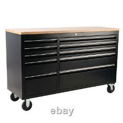 55 Heavy Duty Steel Wood Top Chest Tool Box Cabinet Garage Work Shop 10 Drawer