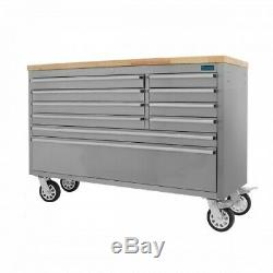 55 Stainless Steel 10 Drawer Work Bench Tool Box Chest Cabinet 0193-0202