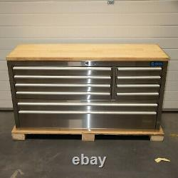 55 Stainless Steel 10 Drawer Work Bench Tool Box Chest Cabinet 0621-0627