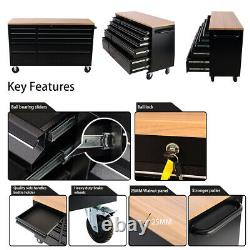 57.9'' Large Chest Tool Box Rolling Work Bench Tool Box 10 Drawers Cabinet Black
