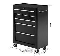 5-Drawer Lockable Steel Tool Storage Cabinet with Wheels Handle 2 Keys Black