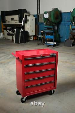 5 Drawer Red Gloss Tool Trolley Chest Box Heavy Duty Hilka Storage Cabinet