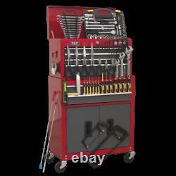 6 Drawer Topchest Rollcab Heavy Duty Steel + 128pc Tool Kit DIY Garage Home