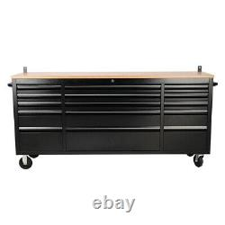 72 15 Drawer Mobile Storage Chest Box Cabinet with Wood Top Tool Cart Workbench