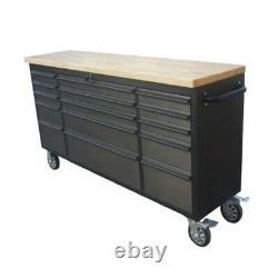 72 Black Steel 15 Drawer Work Bench Tool Box Chest Cabinet