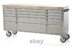 72 Stainless Steel 15 Drawer Work Bench Tool Box Chest Cabinet