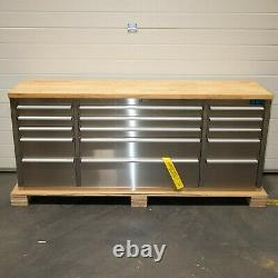 72 Stainless Steel 15 Drawer Work Bench Tool Box Chest Cabinet 5073-5077