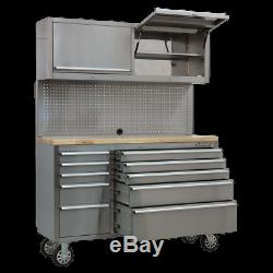 AP5520SS Sealey Mobile Stainless Steel Tool Cabinet 10 Drawer & 2 Wall Cupboards