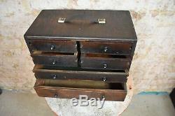 Antique Engineers Bank of Drawers Draughtmens Workshop Cabinet Tool Chest Box