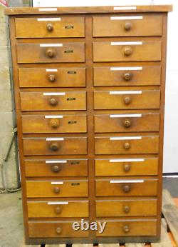 Antique Vintage 20 Drawer Wooden Tool Storage Cabinet 38 X 26 1/2 X 60