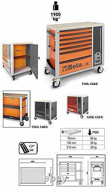 Beta C24SL-CAB 7 Drawer Mobile Roller Cabinet + Cupboard in Orange