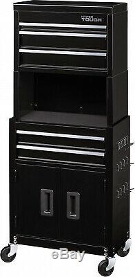 Black 5-Drawer Rolling Tool Chest + Cabinet Combo With Riser Storage Organizer