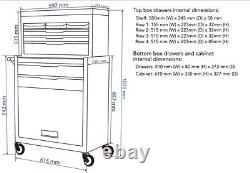 Black 8 Drawer Heavy Duty Tool Box Tool Chest Roller Cabinet Garage Storage Unit