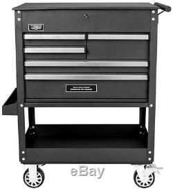 Black Utility Tool Cart 5-Drawer Rolling Cabinet Caster Wheels Heavy Duty Steel