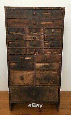 Charming Antique French Apothacary / Tool 21 Drawer Chest Cabinet 60.5 cm H