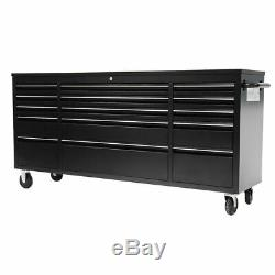 Crytec 72 Black Heavy Duty 15 Drawer Work Bench Tool Box Chest Cabinet