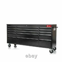 Crytec Black 15 Drawers 72 Inch Work Bench Tool Box Chest Cabinet Rolling Cab