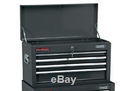 Draper 6 Drawer Black Metal Tool Chest Ball Bearing Rollers Storage Cabinet Box