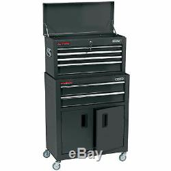 Draper 6 Drawer Combined Roller Cabinet and Tool Chest Black