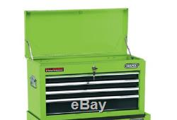 Draper 6 Drawer Green Metal Tool Chest Ball Bearing Rollers Storage Cabinet Box
