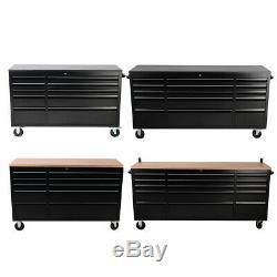 Garage Workshop Tool Storage Chest Cabinet Wood Roller with 10/15 Sliding Drawer