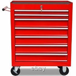 Handy Workshop Tool Trolley 7 Drawers Red Cabinet Organiser
