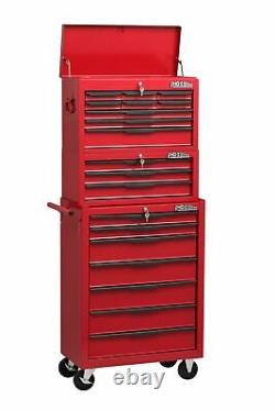 Heavy Duty 19 Drawer Rolling Tools Trolley Chest Combination Unit Cabinet Red