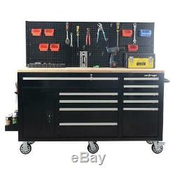 Heavy Duty Tool Chest Mobile Workstation Tool Box 62 inch 10 Drawer Organizer