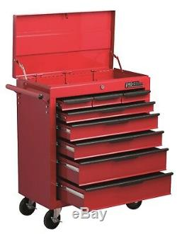 Hilka Tool Chest Trolley 8 Drawer Red Mobile Storage Roll Wheels Cabinet Box