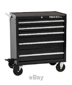 Hilka Tool Chest Trolley Mobile Black Metal 5 Drawer Storage Cart Cabinet Box
