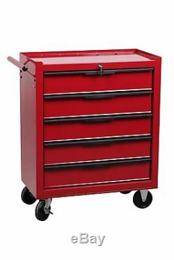 Hilka Tool Trolley Chest 5 Drawer Red Mobile Storage Roll Cabinet Unit Cart Box