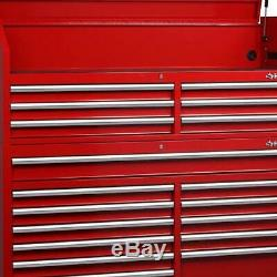 Husky 18 Drawer Tool Chest Cabinet Combo Garage Storage Organizer Red 61 X 18 In