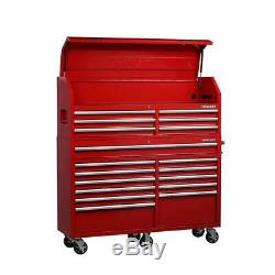 Husky Tool Chest Rolling Cabinet 61 in. Wx 18 in. D 18Drawer Power Strip Gloss Red