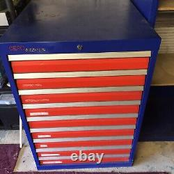 Industrial Metal Heavy Duty Tooling Workshop Cabinet Chest With 9 Drawers VGC