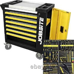 Jobsite 270pc Roller Drawer Tool Chest Storage Cabinet With Tools Socket Set