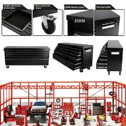 Large 72 Tool Box Cart Roll Chest Tools Storage Cabinet 15 Drawers Garage Black