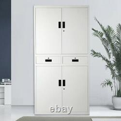 Large Office Tool Storage Cupboard Metal Filing Cabinet Lockable Drawer Chest UK