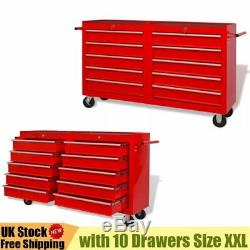 Lockable Heavy Duty Mobile Workshop Tool Trolley Storage Tool Box with 10 Drawer