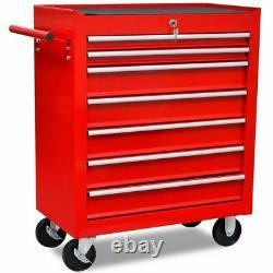 Lockable Mechanics Tool Trolley Storage Cabinet Cart Workshop Chest Box 7 Drawer