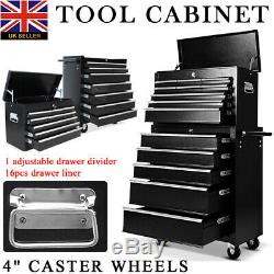 Mechanic Trolley Tool Box Cabinet with 16 Drawers Side Handles 4 Castors Black
