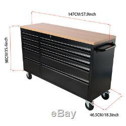 Metal Tool Trolley Box Chest Cabinet 10 Drawers Storage Cart Garage Work Bench