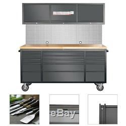 Mobile 72 Tool Chest Cupboard with 15 Drawers 3 Cabinets Peg Board Workbench